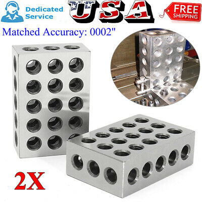 "2 x Ultra Precision 0.0002"" Engineers 1 x 2 x 3 Blocks Hardened Milling 23 Holes"