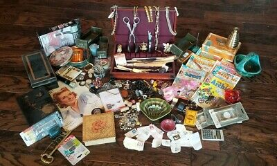Vintage Estate Junk Drawer Lot Of 100+ Items - Jewelry, Coins, Watches, Stamps