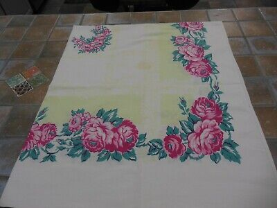 Vintage Mid-Century Tablecloth 45 x 53 Pink & teal Pale Green border Cotton