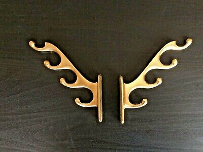 Vintage Pair Of Solid Brass 4 Tier Antler Coat / Hat Hooks Reclaimed Stunning
