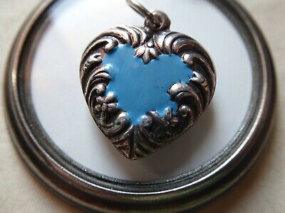 Vtg Sterling Enamel LARGE Puffy Heart Charm Double Sided Repousee Border