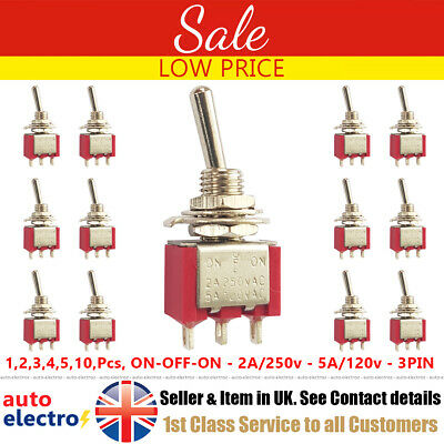 Mini Latching Toggle Switch inverseurs on-Sur AC 2 A 250 V 5 A 120 V 3 broches Flick Rouge