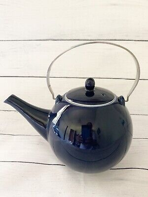 Teapot Rondo with SS handle Navy Blue Fine Porcelain with Metal Strainer 32oz