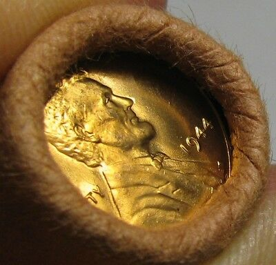 1944 P Obw Original Bank Wrapped Roll Bu Uncirculated Lincoln Wheat Cent Pennies