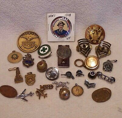 Vintage Junk Drawer Lot Of Wwi-Military-Pins-Coin-Pendants-Money Clip
