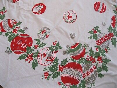 Christmas Tablecloth Ornaments Reindeer Snowmen Bells 60x52 Vintage