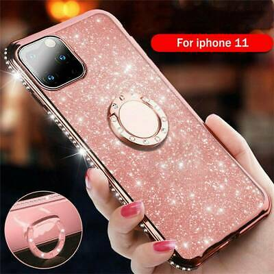 Plating Frame With Bling Diamond Ring Stand  Case Cover Fits iPhone 11 Pro 11