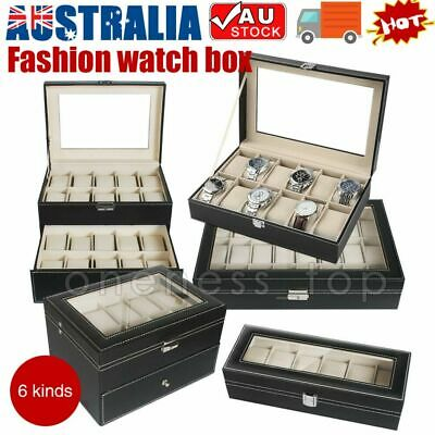 Watch Jewelry Display Case Wooden Collection Storage Holder Box 6 10 12 24 Grids