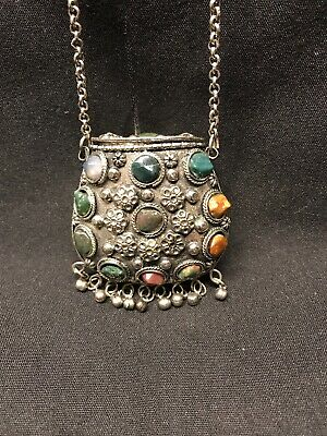 Antique Vtg Silver Colored  Metal Little Purse With Different Agate Stones Bag