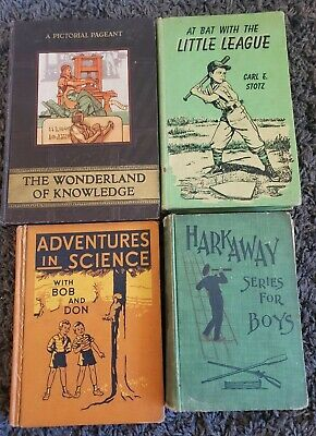 ANTIQUE VINTAGE 40s 50s GRADE SCHOOL TEXTBOOK 4 BOOK LOT HARDCOVER DECOR SHABBY