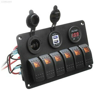 56C2 Dual USB Switch Panel Universal Truck Cars Toggle Switch LED 6 Gang