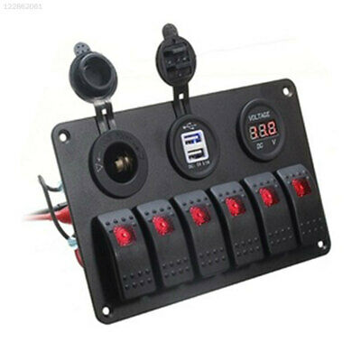 57A5 RV Switch Panel Universal Dual USB 6 Gang Toggle Switch Truck Cars