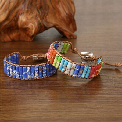 Chakra Natural Stone Tube Beads Bracelet Handmade Rope Wrap Bangle Jewelry Gifts
