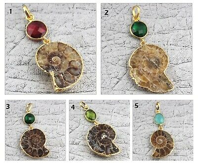 Brown Ammonite Multi-Color Hydro Quartz Yellow Gold Plated Gemstone Pendant