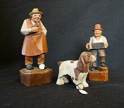 Antique Vintage Italy Hand Carved Wood Lepi Miniature Figures Rare Collectibles