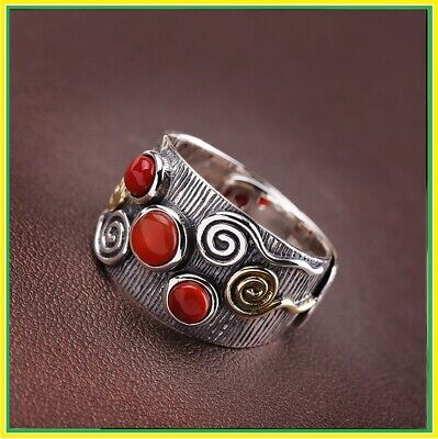 Rings Women Real 925 Sterling Silver Open Stacking Finger Ethnic Elegant Fashion