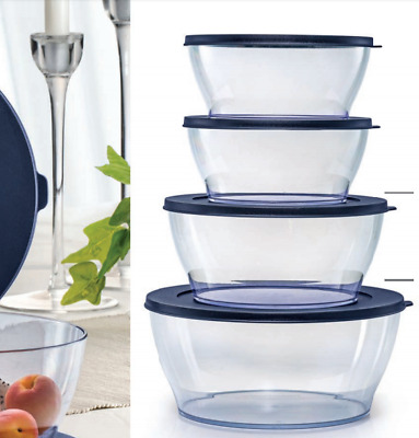 Tupperware Clear Salad Bowl Table Collection 1.3L,2.4L,4L with Black Seal