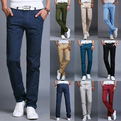 Mens Casual Straight Leg Trousers Cargo Chinos Slim Fit Formal Business Pants UK