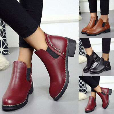 Ladies Womens Chelsea Ankle Boots Flat Chunky Slip On Biker Booties Shoes Size