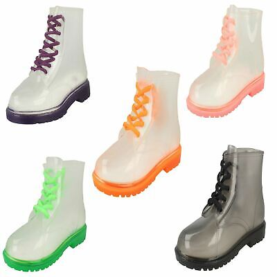 Girls Spot On Lace Up Jelly Look Wellington Boot