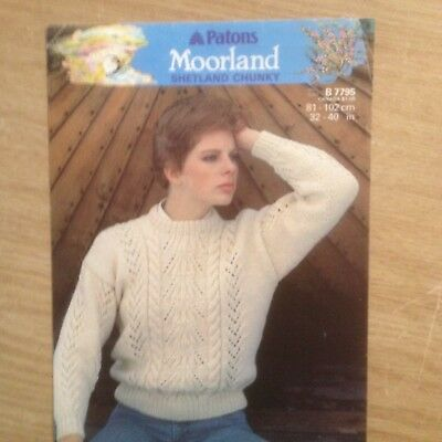 """Woman/'s Cable Polo Neck Sweater //7 Sizes 32-44/"""" Chest BK9 KNITTING PATTERN"""