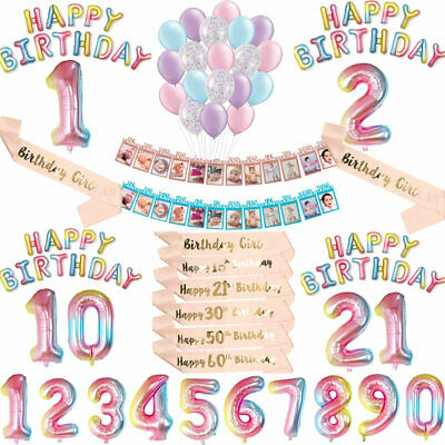 Foil Number Happy Birthday Balloons Baby Kids Party Decorations Rose Gold Sashes