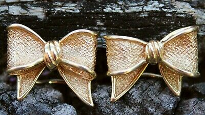 Vintage 14ct Gold Textured Bows Earrings Clip-On Jewellery Jewelry 14K Carat