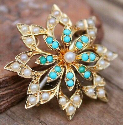 15 ct Gold Turquoise Pearl Brooch & Pendant Victorian Jewelry Jewellery Antique
