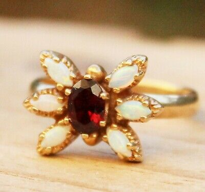 Vintage Gold Ring Opal Garnet 14 ct Cluster Ladies Jewellery Jewelry Old Size O