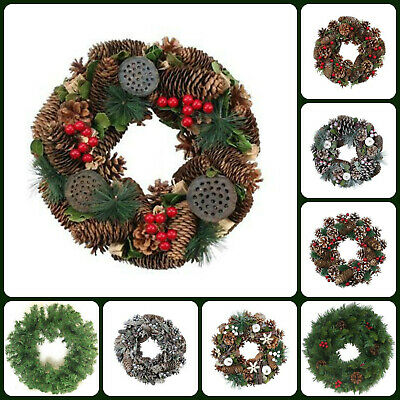 Christmas Door Wreath Artificial Fir Green Spruce Natural Cones Berries Xmas