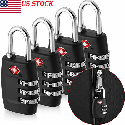 TSA Approved Resettable Lock 3 Digit Combination Suitcase Travel Luggage Padlock