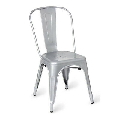 Tolix Metal Vintage Chairs Kitchen Breakfast Dining Chair Sedia Silver - Single