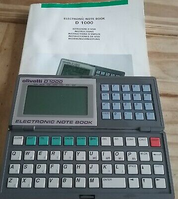 VINTAGE 1990 Olivetti D1000 Electronic Note Book with Manual Pocket Size Working