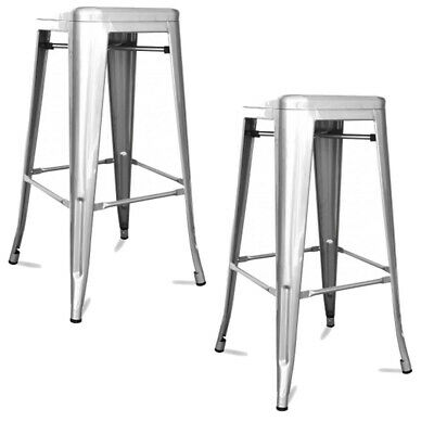 Metal Vintage Stool Industrial Kitchen Breakfast Bar Stools Sgabello Silver - Tw