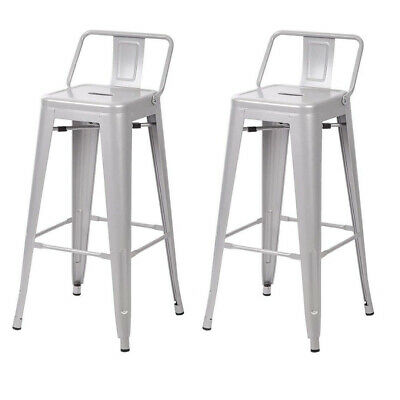 Metal Vintage Stool Kitchen Breakfast Bar Stools Sgabello Due Silver - Twin