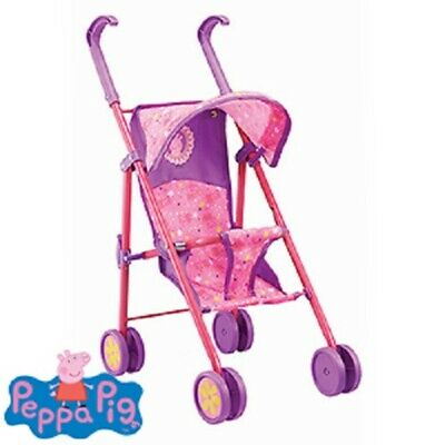 Peppa Pig Kids Pram Buggy Stroller For Baby Dolls 55cm Tall Folding Toy