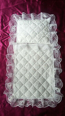 Dolls Pram Set Small Handmade Quilted Broderie Anglaise Lace Bedding Cover Quilt
