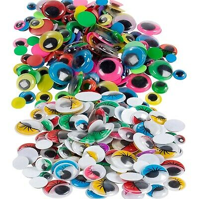 Googly eyes Self Adhesive Coloured Black 6mm to 50mm Stickers Wiggly