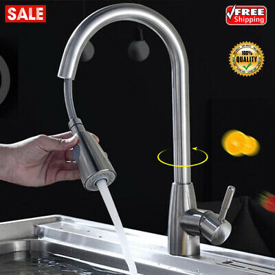 Stainless Steel Kitchen Pull-Out Faucet Sprayer Hot Cold Water Sink Telescopic
