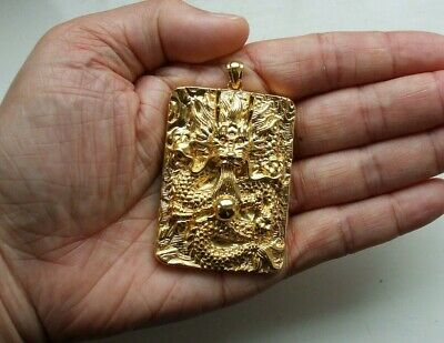 Vintage Chinese Gilded Dragon Necklace Pendant