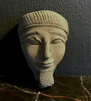 Antique EGYPTIAN HEAD sculpture PHARAO Ramses CARVED STONE mid century EGYPT