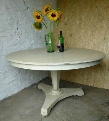 Antique Round Mahogany Table, Painted, Shabby Chic, Egyptian Cotton