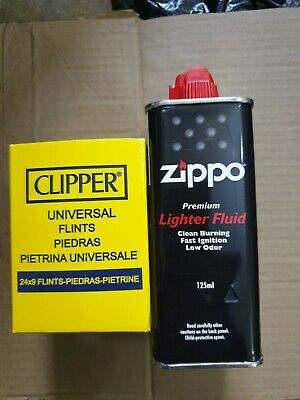 Premium  Quality Zippo Lighter Fluid Fuel Petrol 125ml Tin  And Clipper Flint