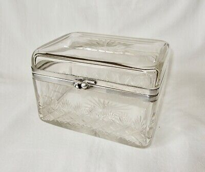 Antique Victorian Cut Glass & Silver Plate Scottish Lidded Biscuit Box Casket