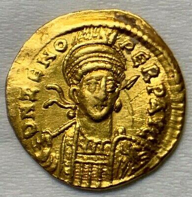 Ancient Roman Gold Coin Of Zeno; Solidus; 2Nd Reign, 476-491 Ad. Scarce Coin!