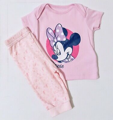 Disney Baby Girls Pyjamas Pink Minnie Mouse Top And Bottoms Set George