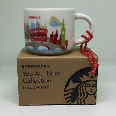 Starbucks London YAH Ornament Mug 2oz Demi You Are Here Christmas Coffee England