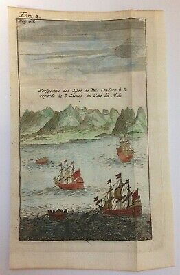 VIETNAM CON SON (POULO CONDOR) 1711 UNUSUAL ANTIQUE VIEW by DAMPIER 18TH CENTURY