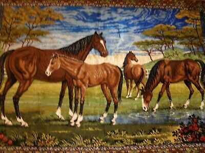 """Vintage Hand Loomed Lebanese Wall Hanging Tapestry """"Brown Wild Horses"""""""