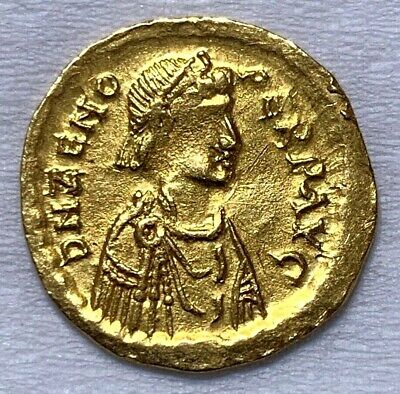 Ancient Roman Gold Coin Of Zeno; Semissis; 2Nd Reign, 476-491 Ad. Scarce Coin!